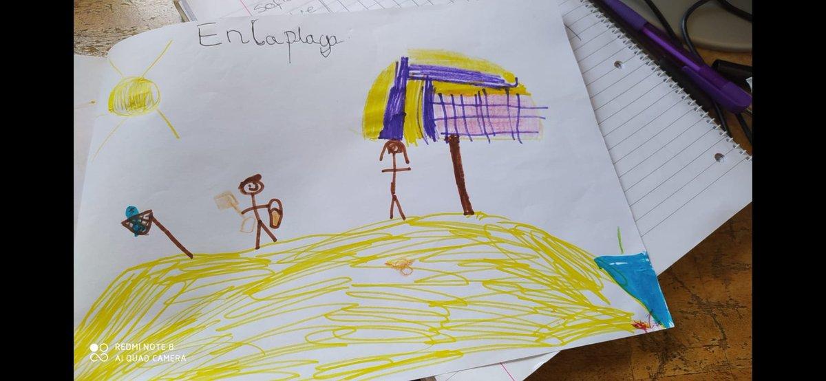 En Cervantes los niños han hecho dibujos para representar sus vacaciones de verano y contarselo a sus amiguitos.