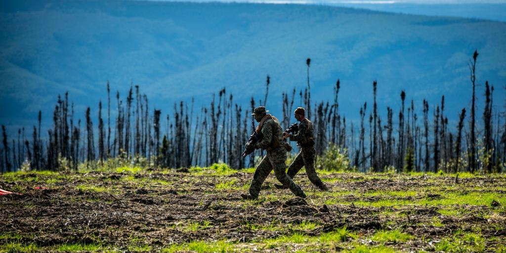 Alaskan Adventure Marines with @1st_Marine_Div move across a resupply landing zone at @EielsonAirForce during a Marine Corps Combat Readiness Evaluation ahead of an upcoming deployment.