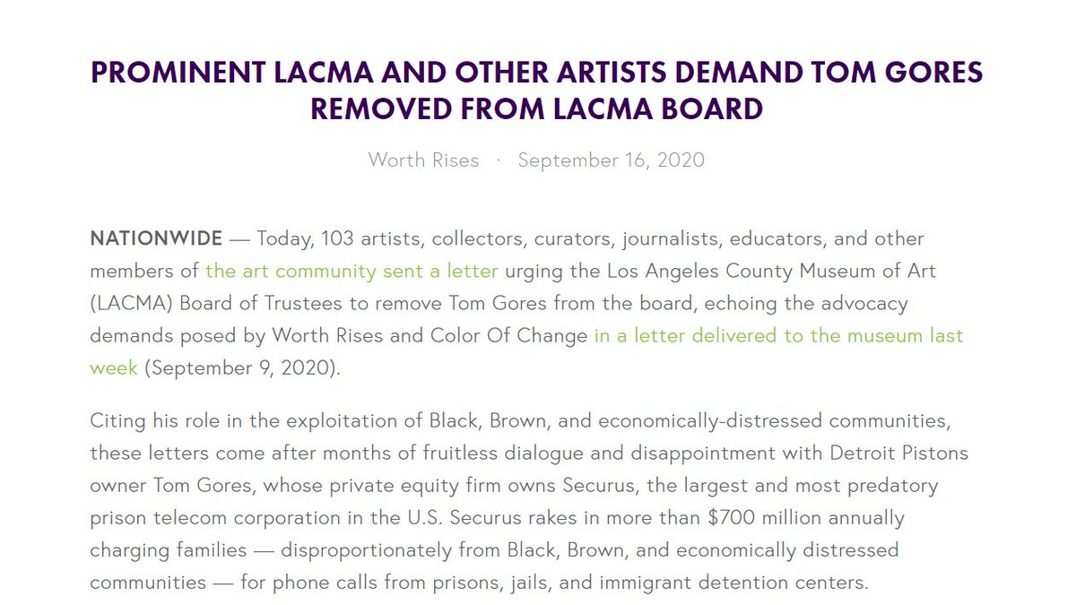 We condemn the artwashing that has poisoned the wells of our cultural centers. BREAKING: Last week, we wrote @LACMA urging the board remove prison profiteer @TomGores. Today, 100+ prominent artists, collectors, curators, journalists echoed our demand. worthrises.org/lacmaartletter