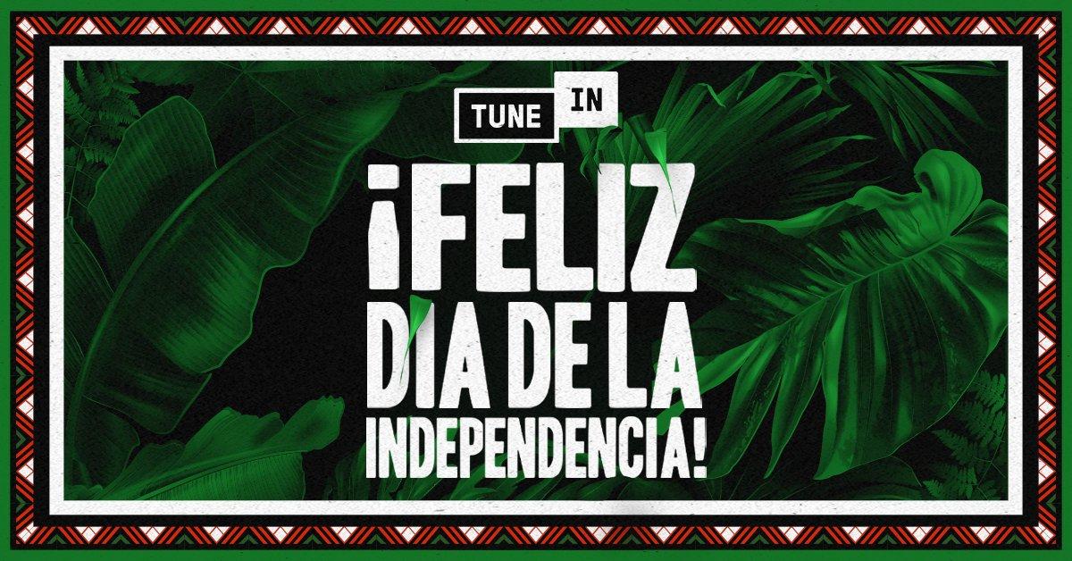 ¡Feliz Día de la Independencia! 🇲🇽 Vamos a celebrar con la colección de musica de #TuneIn que incluye estaciones exclusivas como Éxitos Mexicanos y favoritas locales como @ExaFM y @LaMejor. https://t.co/jbh0v3kFhV https://t.co/Hh2RVkcHus