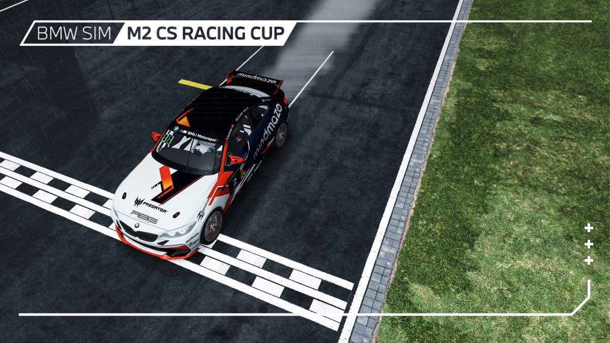 The penultimate round of the BMW SIM M2 CS Racing Cup is in the books. ✅  Victory on a soaking wet Nordschleife goes to @ErhanJajovski! 🏆  Many congrats! 👏🏼  #BMWSIM @rFactor2 https://t.co/nsrqUepBpk