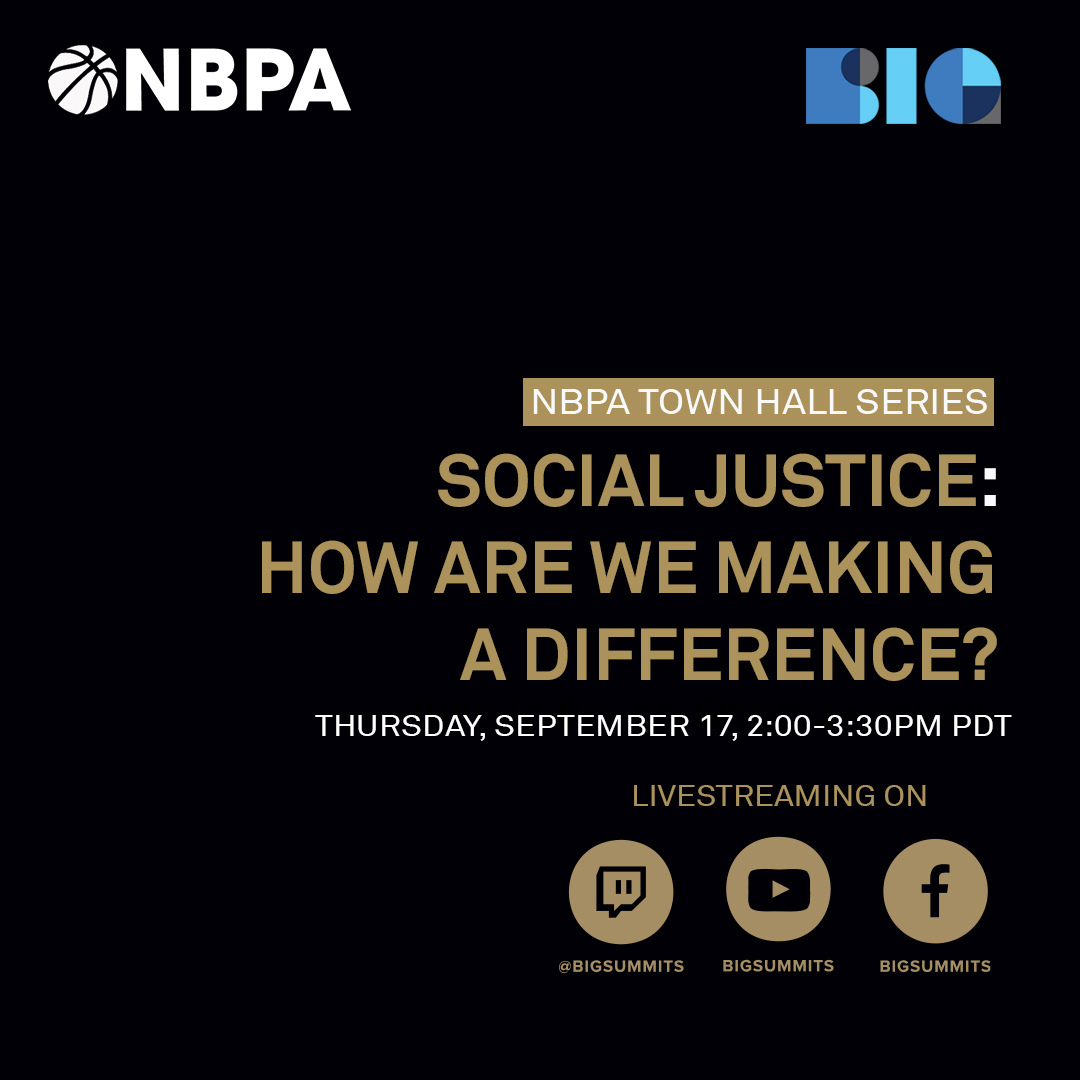 Join us this Thursday at 2pm PT for an intimate conversation between @Barondavis and Michele Roberts, Executive Director of the @TheNBPA. Follow @BigSummits on Facebook to participate in the live discussion – https://t.co/urVNx16JG9  #nbpa #speakerseries #athletesforjustice https://t.co/8RXukPSMsK
