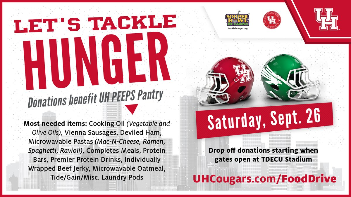 Let's 𝑻𝑨𝑪𝑲𝑳𝑬 𝑯𝑼𝑵𝑮𝑬𝑹  Donate non-perishables to benefit @uh_peeps at next week's @UHCougarFB home opener!   #GoCoogs https://t.co/Z73qthHSxD
