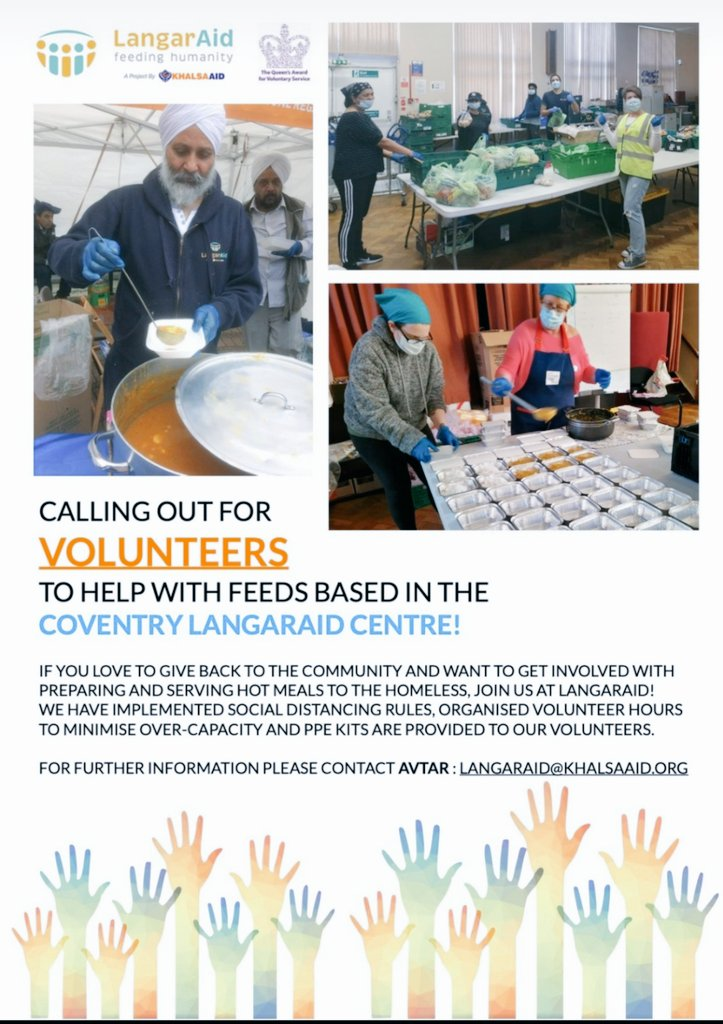 **Call Out For Volunteers In Coventry** Please email langaraid@khalsaaid.org for further information regarding volunteering with us in #Coventry 🙏🏽 #COVID19 #coronavirus @Khalsa_Aid