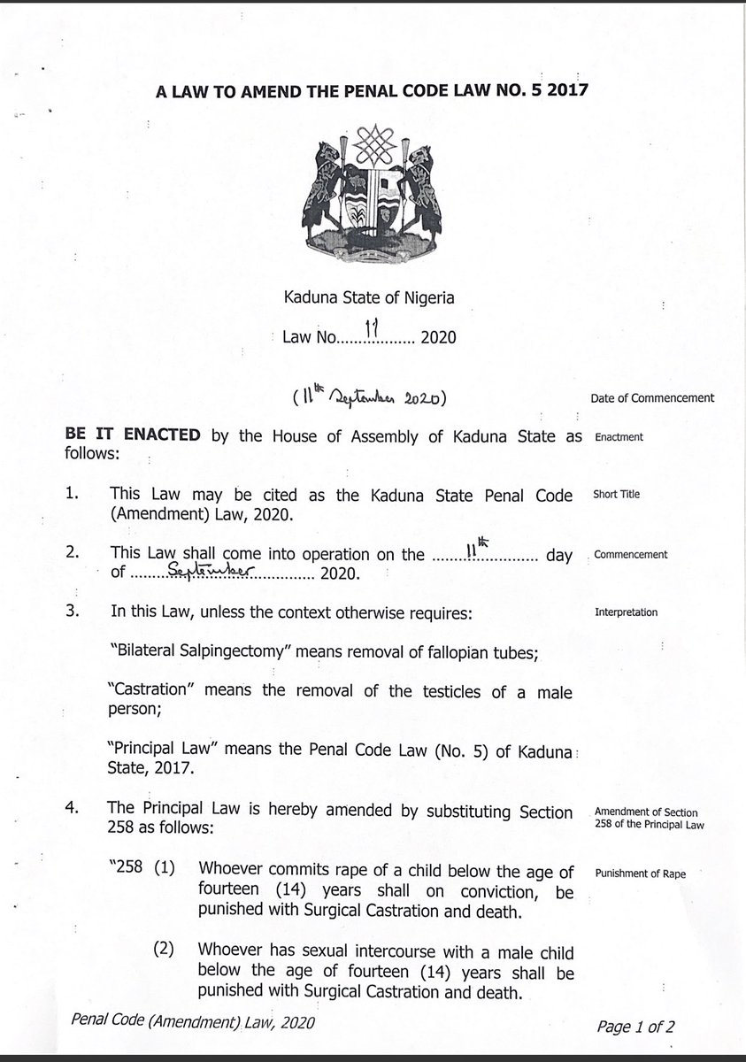 Malam Nasir @elrufai has signed the Kaduna State Penal Code (Amendment) Law 2020 which provides stiff penalties upon conviction for the rape of a child, including surgical castration for male convicts and bilateral salpingectomy for female convicts https://t.co/m86UXi4dEg