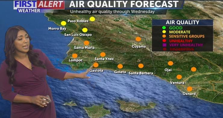 Temps will warm slightly today with most of the region under unhealthy air quality for sensitive groups. https://t.co/Syqih5OmRA
