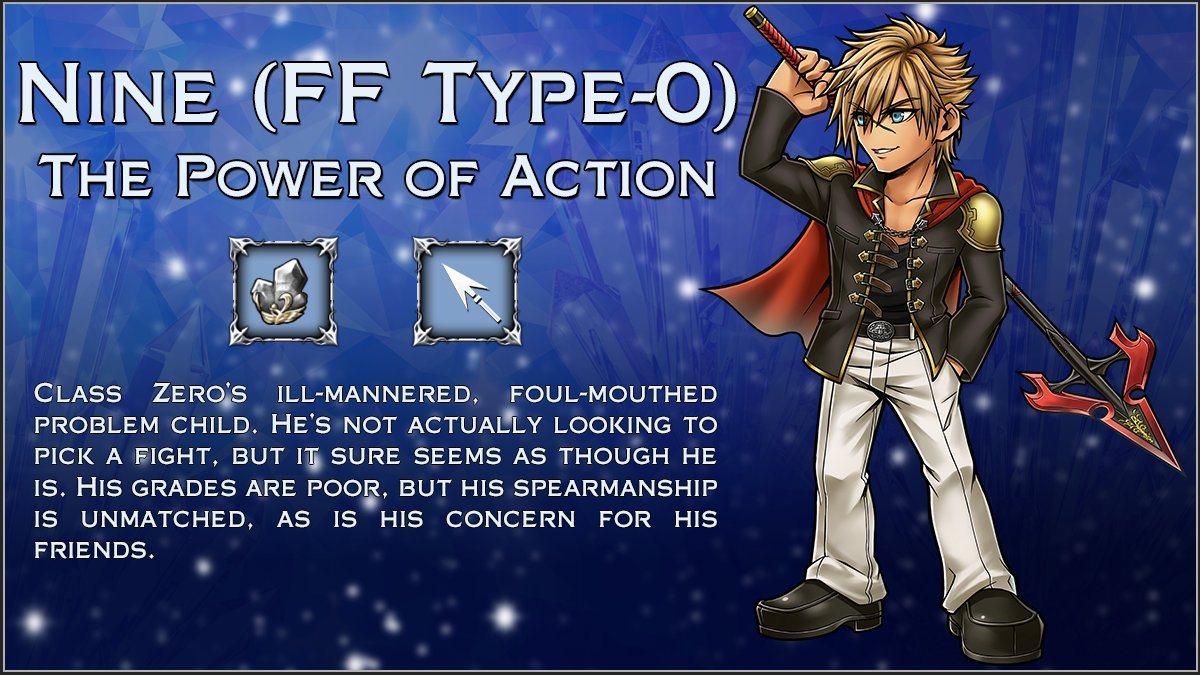 Need another foul-mouthed spear wielder in your roster?  Nine from FINAL FANTASY Type-0 arrives to #DissidiaFFOO on Friday, September 18, at 02:00 UTC! https://t.co/j6gVUSdy7M