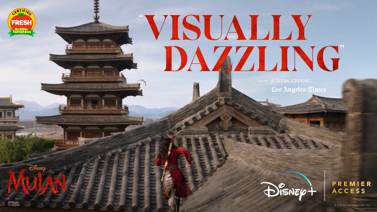 """Disney's #Mulan is """"visually dazzling."""" Now streaming exclusively on #DisneyPlus with Premier Access. For more info: https://t.co/iy94t8BgR3 https://t.co/Fmc7X7pI2Z"""