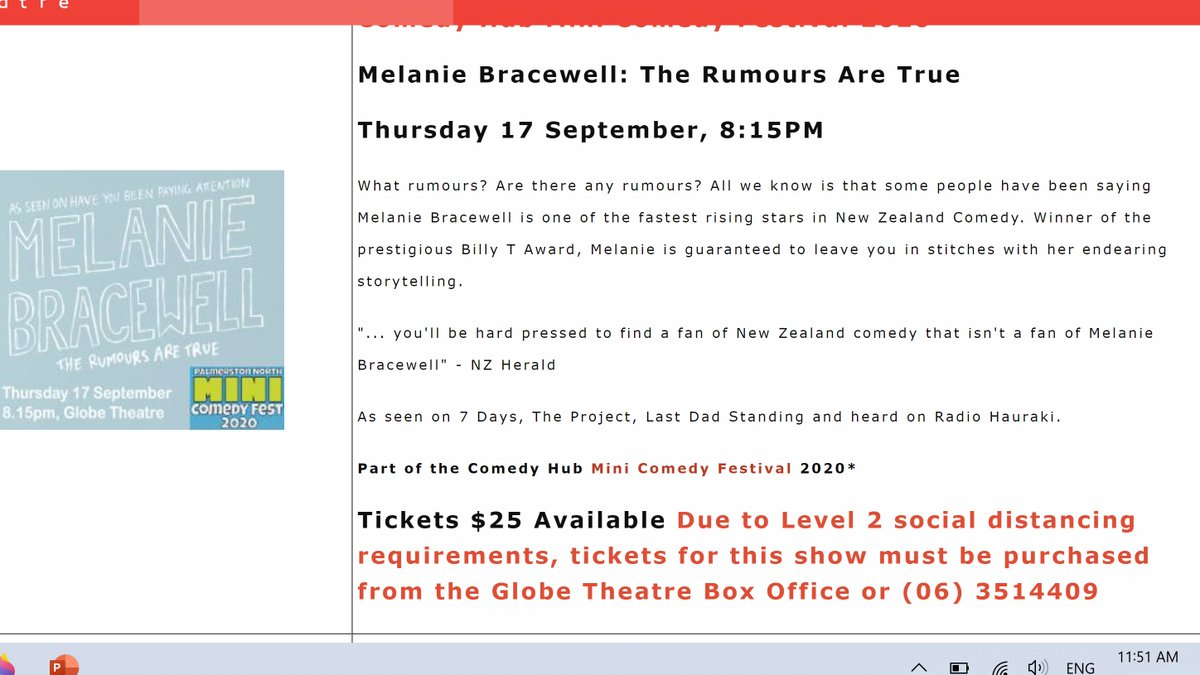 My show in Palmy tonight has been moved to a bigger room but due to social distancing requirements you have to book on the PHONE (so old school)