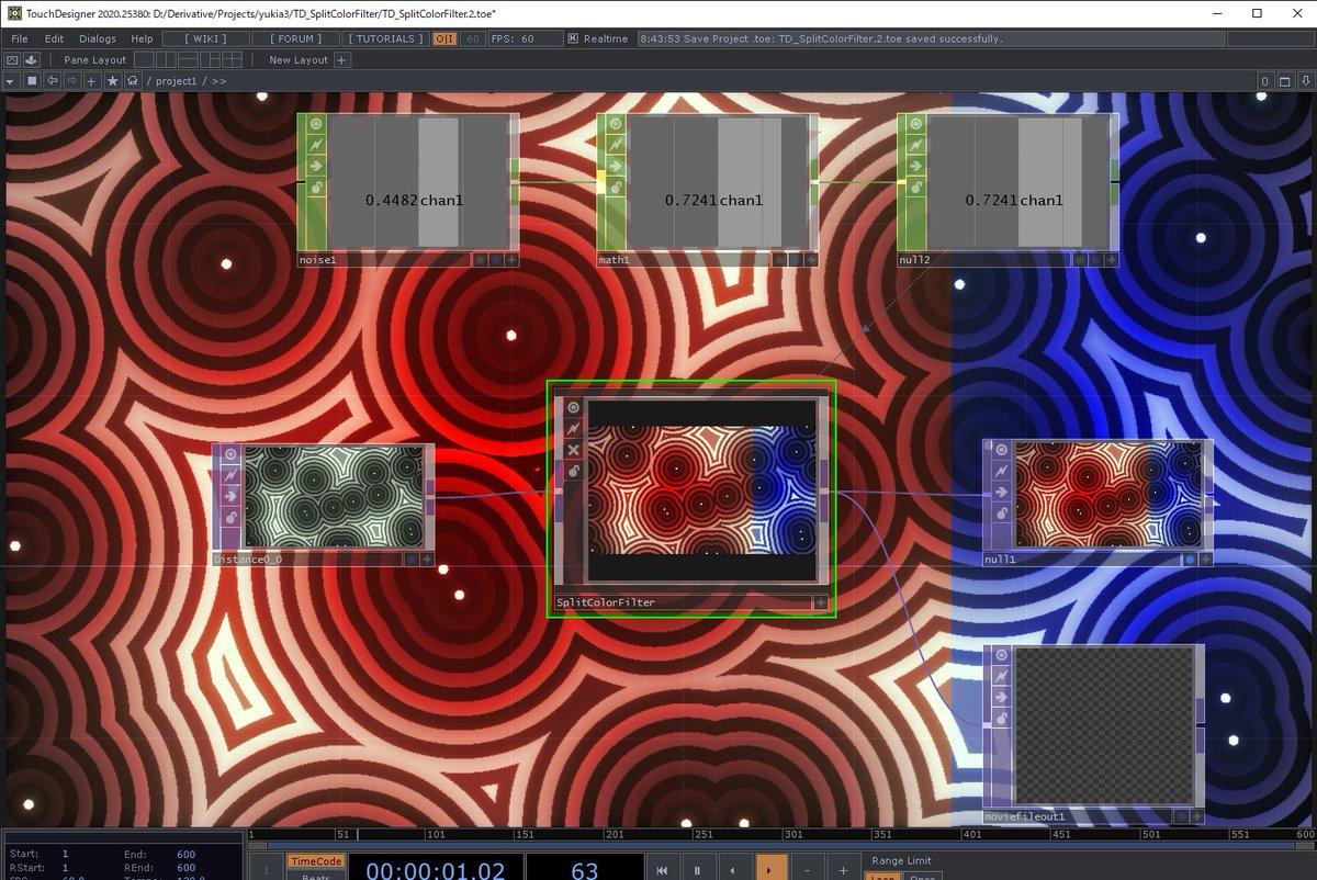 映像を左右で割って、それぞれに色でフィルタかけたくなったので、簡単にtoxにしてみた。割る左右比率だったり、色、Composite operationもパラメータから選べるように。探せばありそうだけど。 #touchdesigner