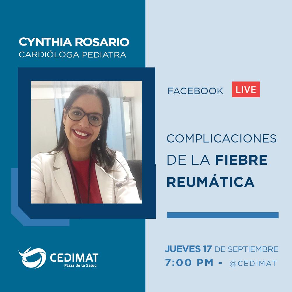 La doctora Cynthia Rosario, cardióloga pediatra de #CEDIMAT, nos hablara sobre la fiebre reumática y sus complicaciones.  No te lo pierdas, mañana jueves 17 de septiembre a las 7:00 PM en nuestra página de Facebook.  #Salud #Live #cardiologia #fiebrereumatica  #Bioseguridad https://t.co/ZZJy6gzASn
