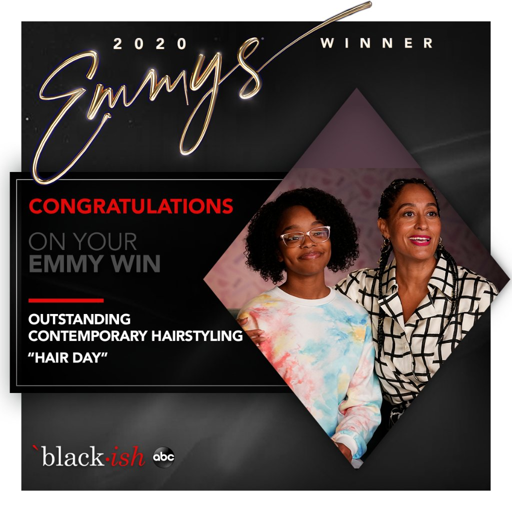 Congratulations to Araxi Lindsey and #blackish team for their Emmy win for Outstanding Contemporary Hairstyling! 🥳 https://t.co/nq9Vvc6xZr