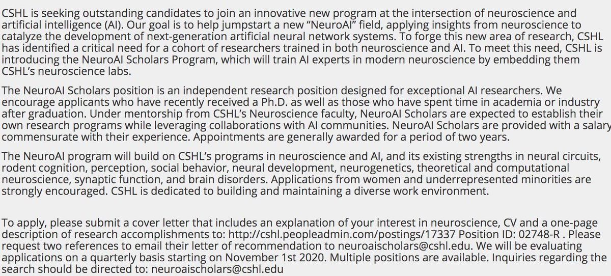 Are you an AI researcher interested in neuroscience?   Become a NeuroAI Scholar at CSHL!  https://t.co/DWORFIbhJp https://t.co/F0xKTBix58