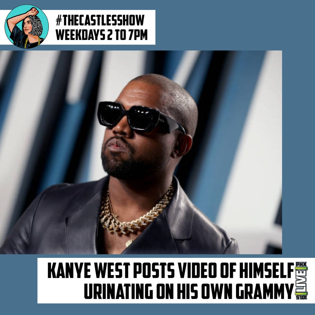 kanye-west-appears-to-pee-on-grammy-after-tweeting-about-battle-over-music-ownership Photo