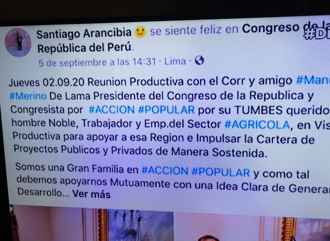 Foto borrada del Facebook de Santiago Arancibia, donde queda registrada su visita a @congresoperu y a @MerinoDeLama y claro no aparece su nombre en el registro de visitas. Cómo se entero Santiago q querían vacar a Vizcarra? , he ahí la respuesta. Ah claro y Vitocho no lo conoce🤣 https://t.co/4Sfmio3qjU