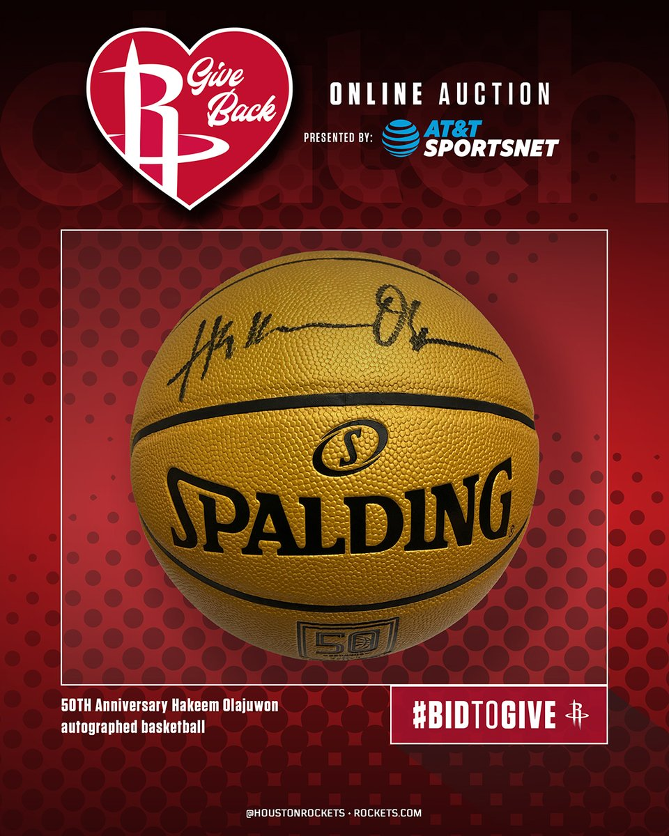 𝗥𝗼𝗰𝗸𝗲𝘁𝘀 𝗚𝗶𝘃𝗲 𝗕𝗮𝗰𝗸 𝗔𝘂𝗰𝘁𝗶𝗼𝗻 𝗜𝘁𝗲𝗺 𝗼𝗳 𝘁𝗵𝗲 𝗗𝗮𝘆 ⤵️  Hakeem Olajuwon Autographed 50th Anniversary Basketball  Bid Now in the Rockets App to support local COVID-19 relief efforts. https://t.co/NFkNo60H8k