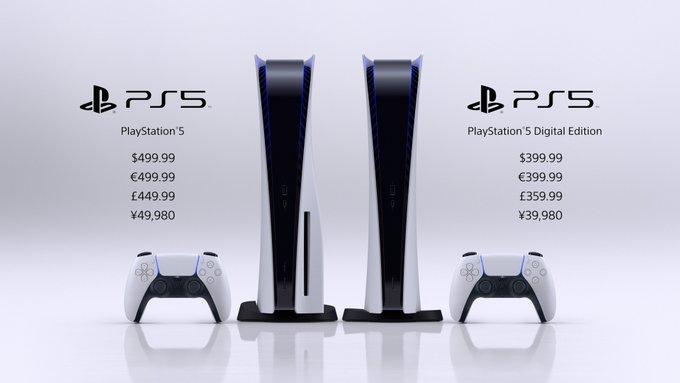 PlayStation 5 image $499.99 €499.99 £449.99 ¥49,980  PlayStation 5 Digital Edition image $399.99 €399.99 £359.99 ¥39,980