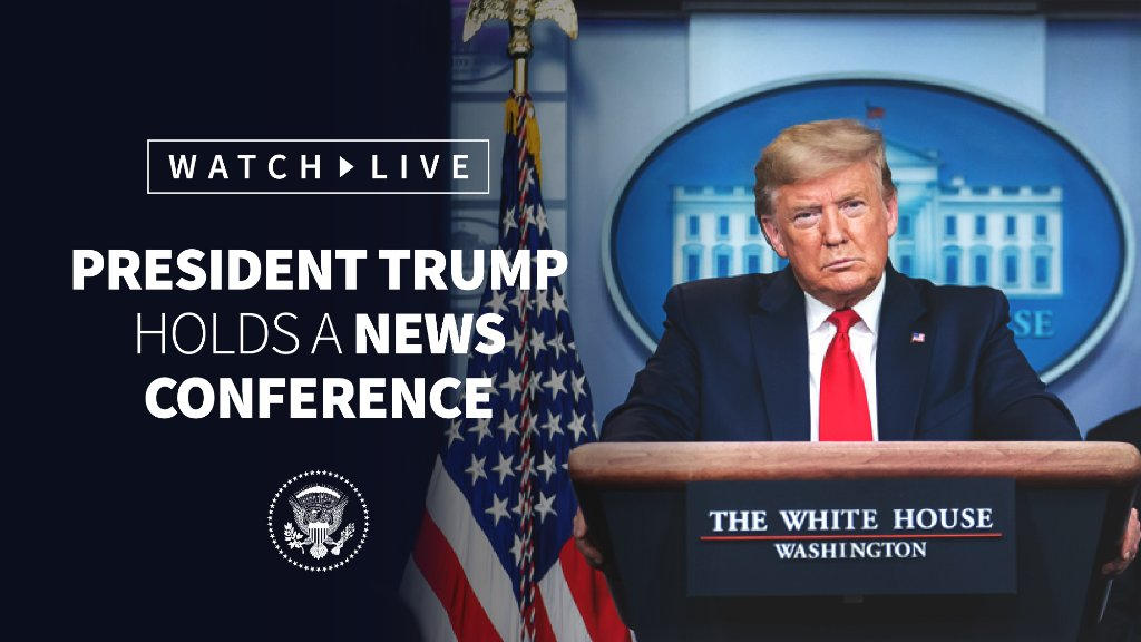 NEXT—President @realDonaldTrump holds a news conference. WATCH LIVE: 45.wh.gov/RtVRmD