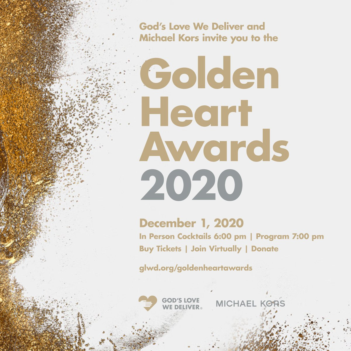 The #GoldenHeartAwards will have a hybrid in-person dinner and virtual event! God's Love and our great friends at @MichaelKors are thrilled to produce this event in partnership with some of NYC's finest restaurants including...