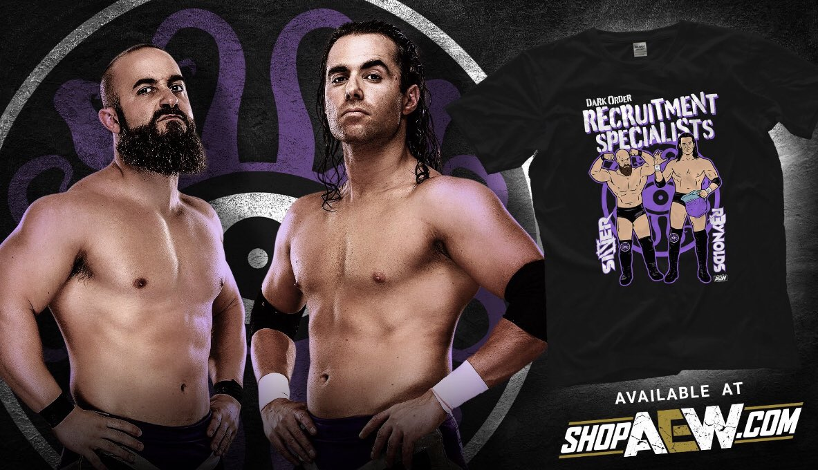 """Meet the """"Recruitment Specialists""""! They are always searching for new members for Dark Order....wanna join? Visit ShopAEW.com to purchase yours today! #AEWDynamite"""