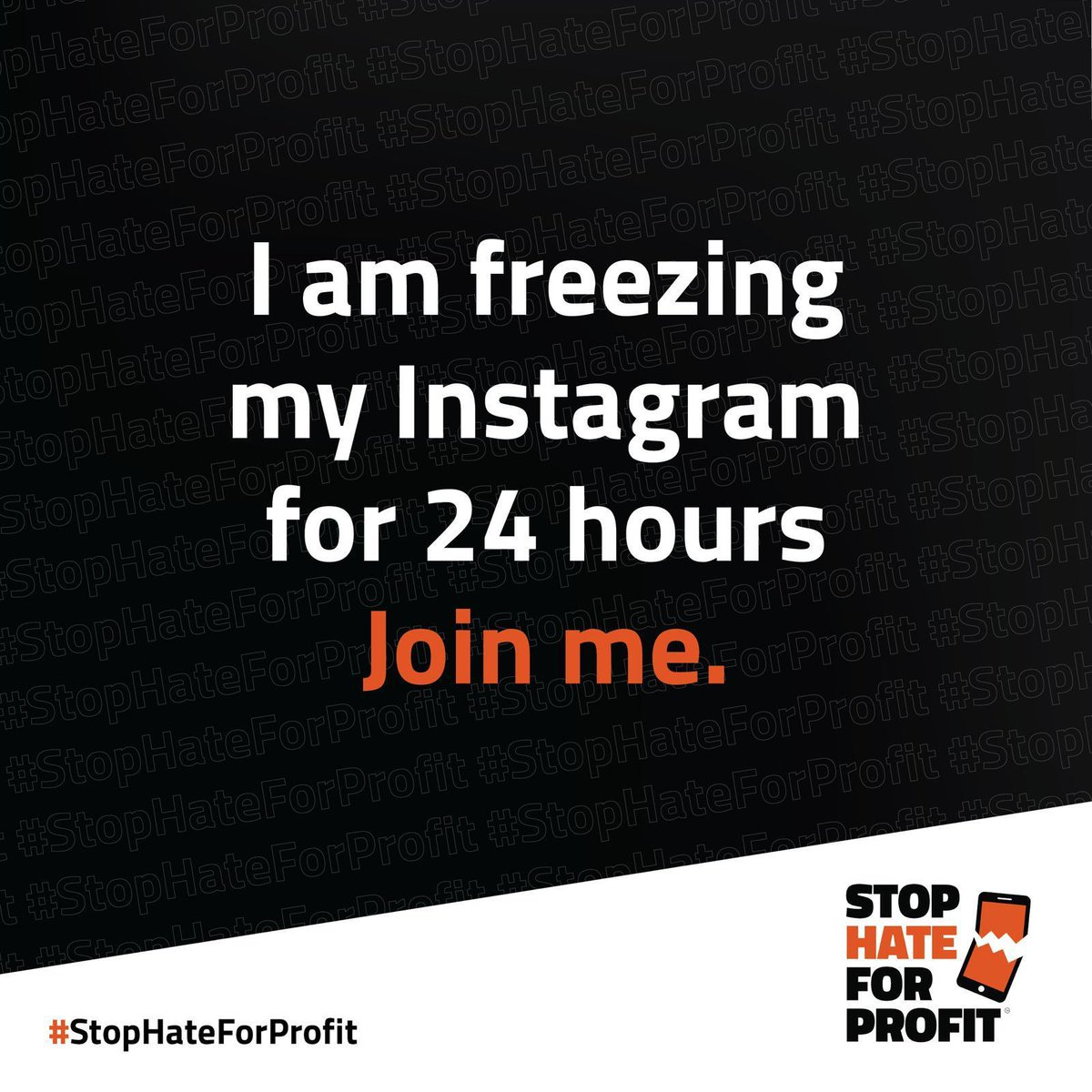 It's time to stop hate, bigotry, and disinformation. Freeze Instagram today with me. #StopHateForProfit