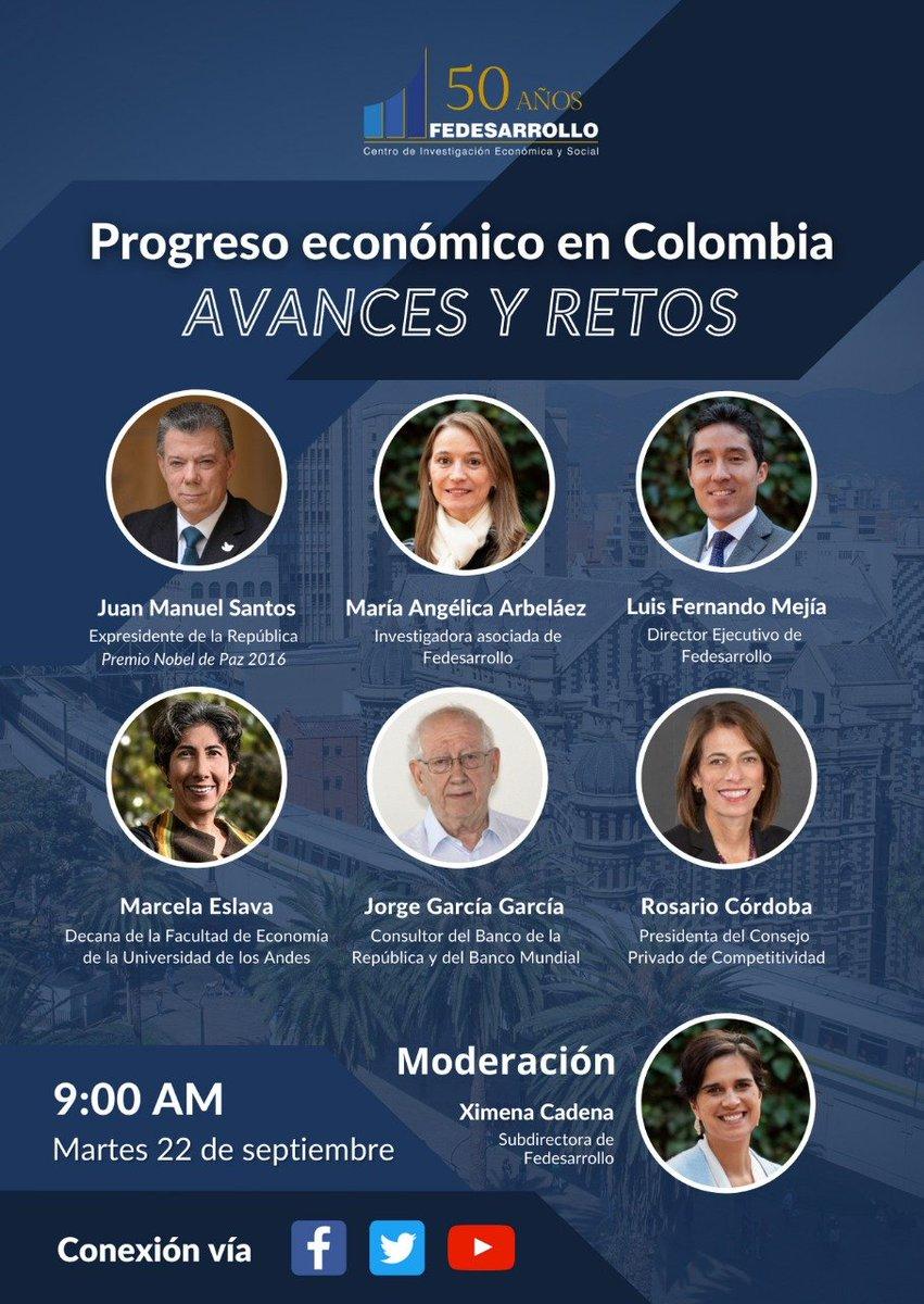 Continuando con nuestros eventos de conmemoración de 50 años, los esperamos el próximo martes para hablar del progreso económico de Colombia, así como de los retos para el 2020-30. Tendremos al expresidente @JuanManSantos como invitado especial y a unos panelistas de lujo. https://t.co/FH7Z8ora8f