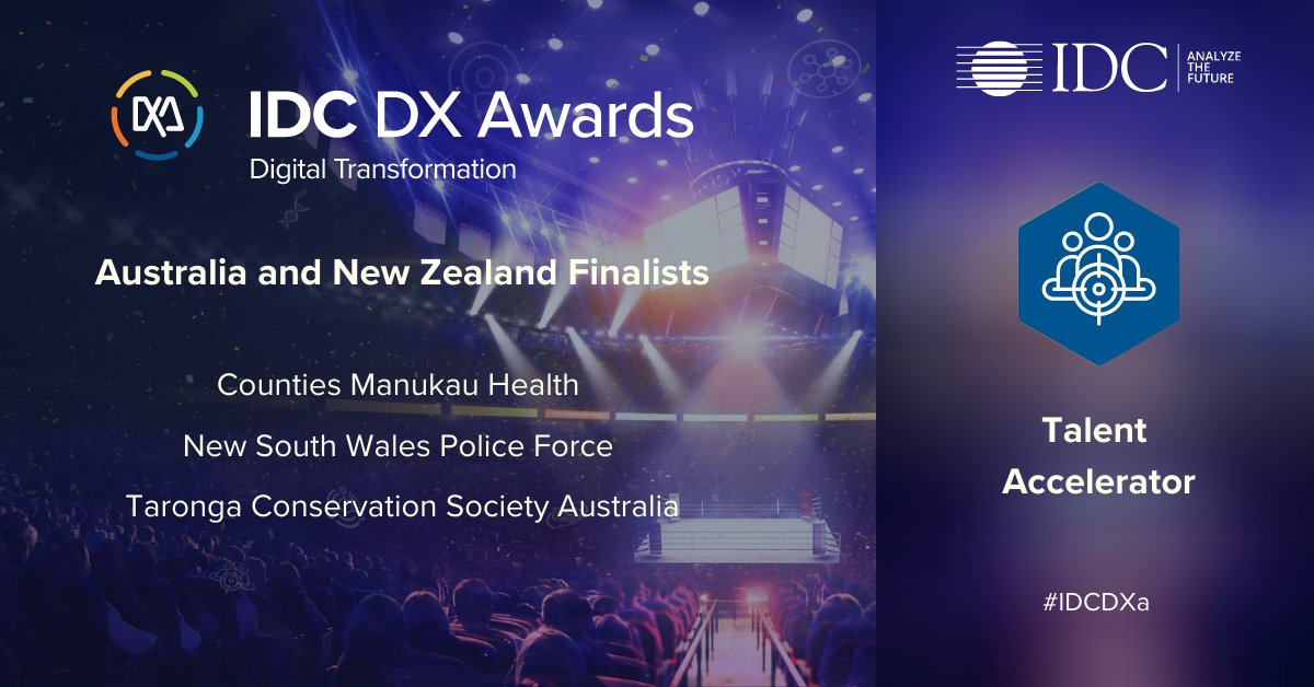 Congratulations to our #IDCDXa Talent Accelerator finalists who've leveraged digital interactions to optimise productivity and flexibility throughout their organisations: Counties Manukau Health @cmdhb NSW Police Force @nswpolice Taronga Conservation Society @tarongazoo https://t.co/TQJ6sGuuLM