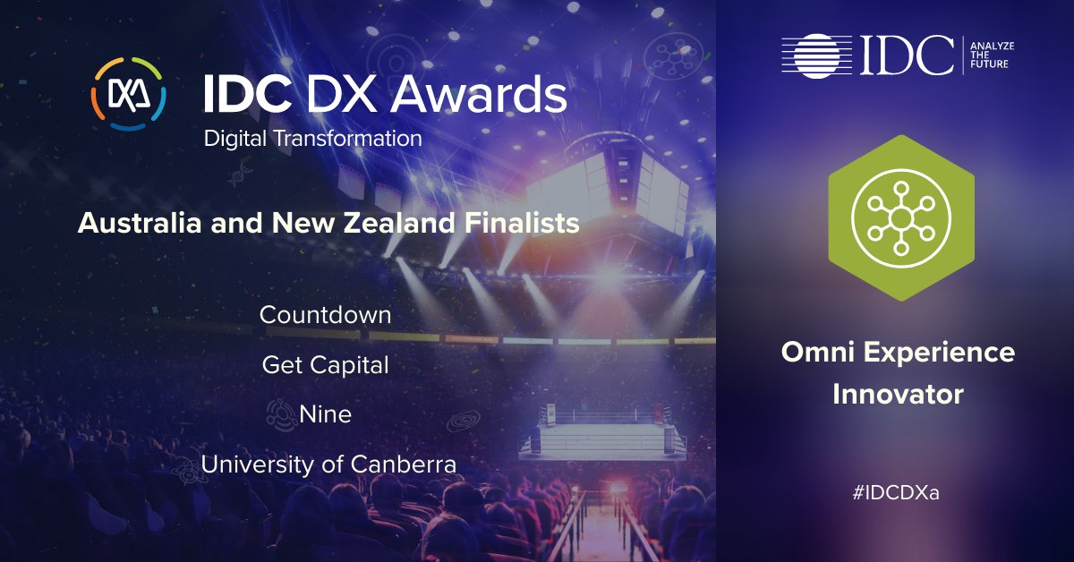 Here are our A/NZ #IDCDXa finalists for Omni Experience Innovator! These companies transform operations based on a customer-centric model, focused on attracting and growing customer loyalty and advocacy. Congratulations  @Get_Capital,  @CountdownNZ,  @9Comms, @UniCanberra! https://t.co/ZQMFFSqKrU