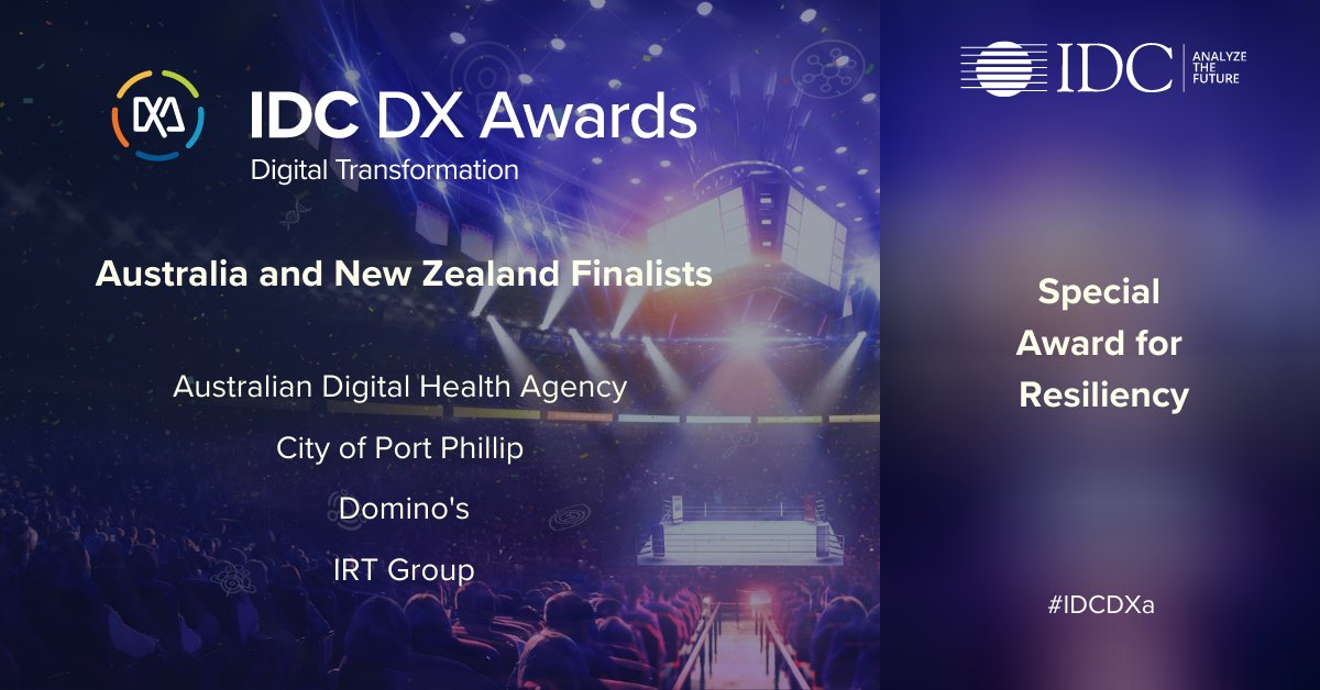 Congratulations to the #IDCDXa finalists for the Special Award for Resiliency and their fantastic #DX projects:  @cityportphillip - Film Fest @AuDigitalHealth - Fast-track Electronic Prescribing Initiative @IRTgroup - COVID-19 Response  @Dominos_AU - Zero Contact Delivery https://t.co/daxVLfyAc8