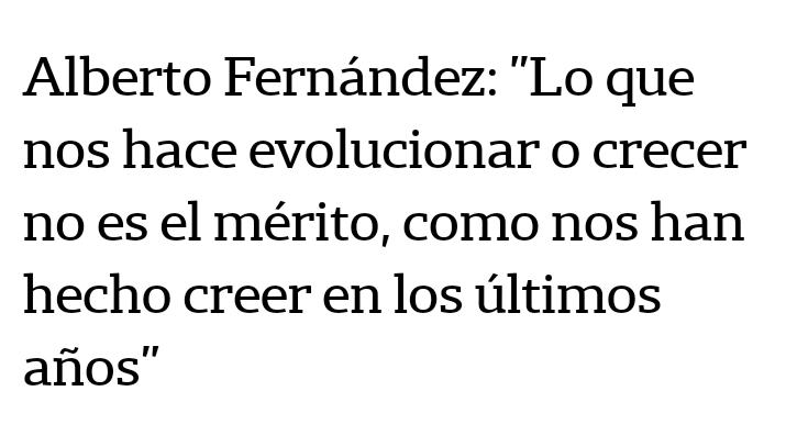 El mérito es el fruto de nuestro esfuerzo. Si eso no es lo que nos permite progresar, ¿qué es, @alferdez? Debemos construir una Argentina de ciudadanos incentivados a vivir del resultado de su trabajo. La ausencia del mérito iguala hacia abajo y construye dependencia. https://t.co/zLpfOonfQc