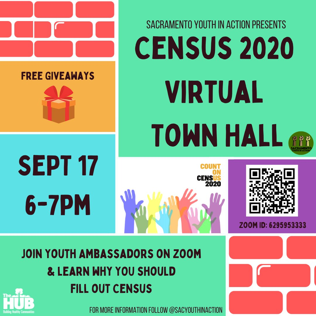 Don't forget about @Youth_Sac  Census 2020 Virtual Town Hall tomorrow. There will be lots of information and raffle prizes for participants. Tell all your friends and share with them. https://t.co/G3Kz1FQDTd