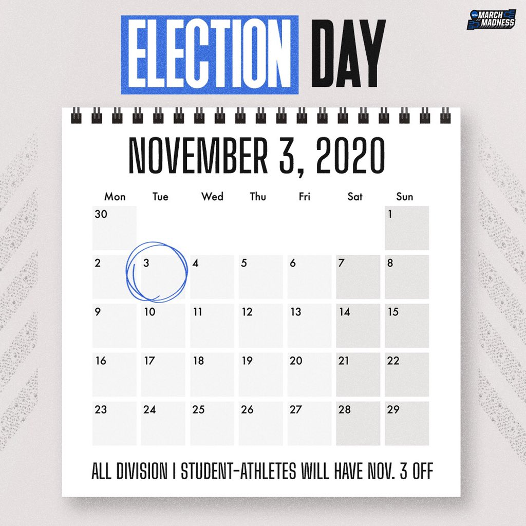 #AllVoteNoPlay 🇺🇸  Division I student-athletes will not practice or compete on the first Tuesday after Nov. 1 every year - including this year's Election Day on Nov. 3. 👉 https://t.co/TNOKP8lwI5 https://t.co/0lEFKdKdnv