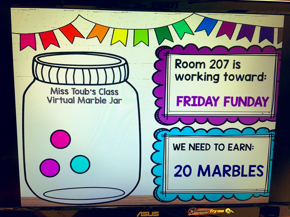 🥳VIRTUAL MARBLE JAR🥳   Ss were SUPER excited to learn about our whole class incentive today! Ss brainstormed a list of ideas for class rewards! Then, Ss voted on which reward to work towards first!   💪YES, we can still motivate & excite our Ss!!  #cbsdtech #cbinnovate #cbsdpd https://t.co/DJ3csP0UJS