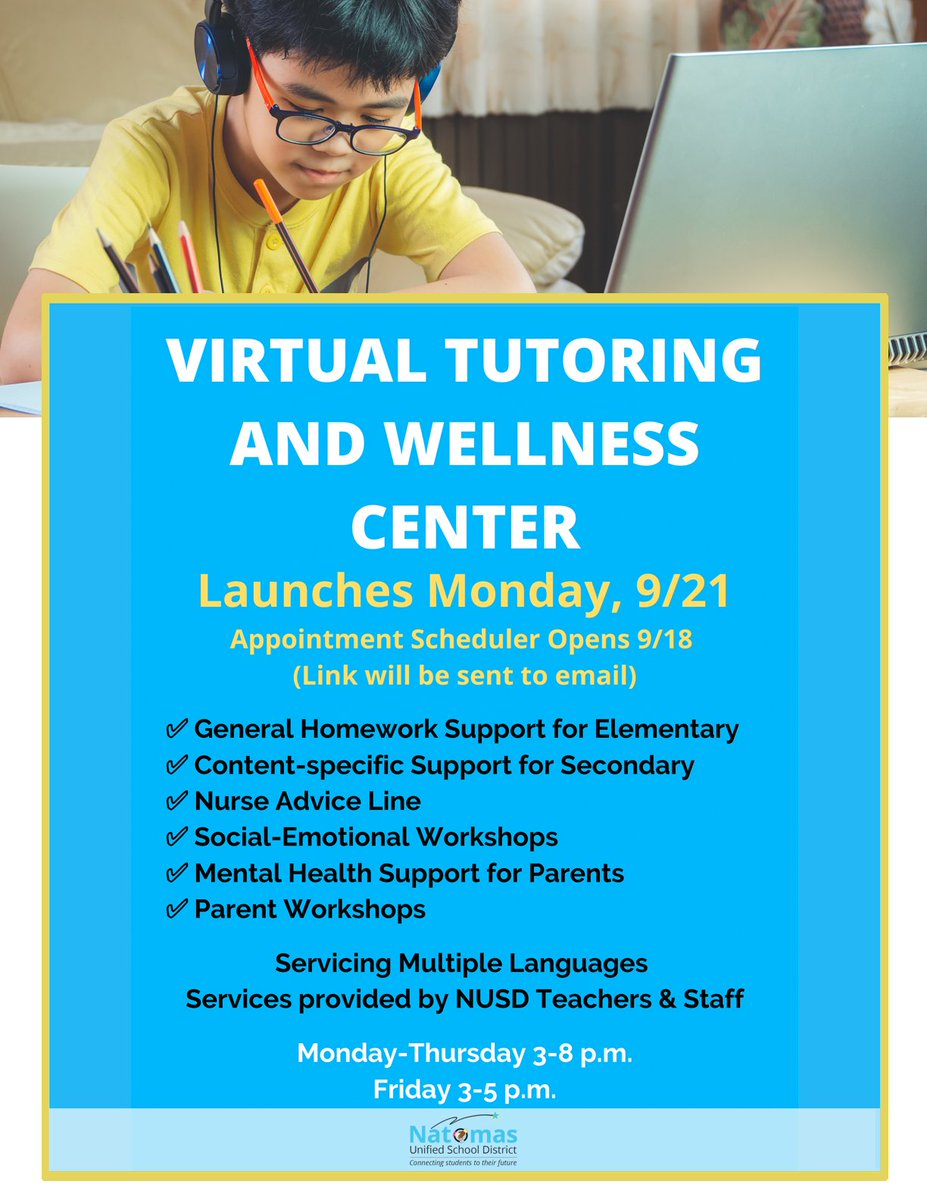 Learn more about NUSD's Virtual Tutoring and Wellness Center scheduled to launch on Monday, Sept. 21. Details below ... https://t.co/Jfyad1xCpS