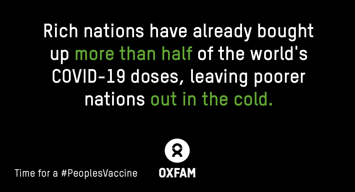 UPDATE: A small group of rich nations - representing just 13% of world population - have bought up MORE THAN HALF the supply of leading #COVID19 vaccine contenders.  Time for a #PeoplesVaccine - free for everyone, everywhere.  👉🏾 https://t.co/rEBmLdd7h9 https://t.co/DS1igItxGj