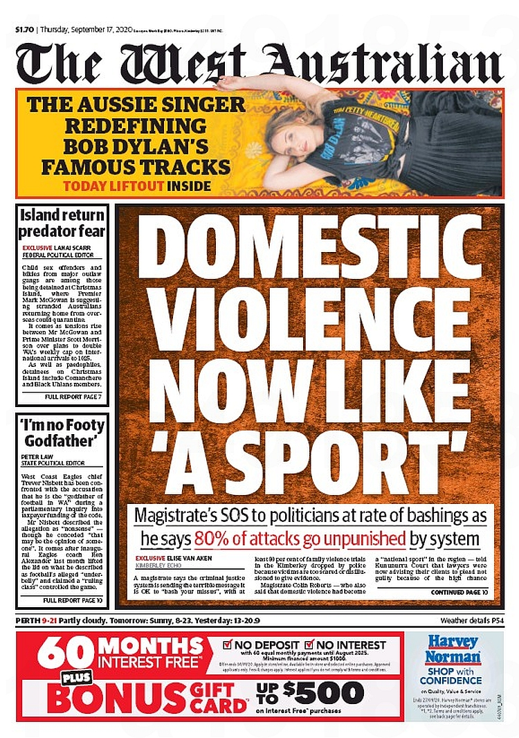 Domestic Violence Now Like 'A Sport'. Magistrate's SOS to politicians  at rate of bashing's as he says 80% of attacks go unpunished by system ~ Elise Van Aken  #frontpagestoday #Australia #TheWestAustralian #buyapaper 🗞 https://t.co/WlBoMaQGZN