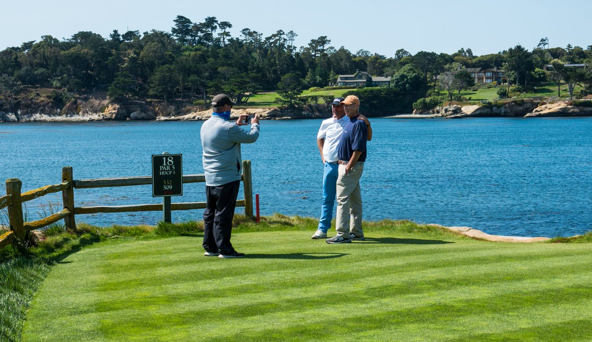 First time or a Hall of Famer. You take a picture on 18 at Pebble.