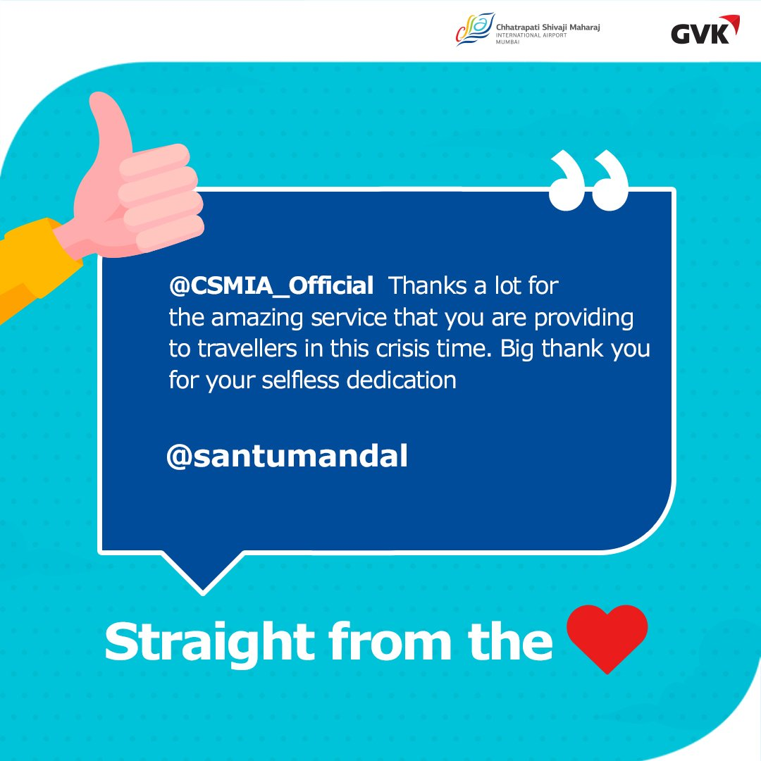 .@santumandal you made our day! Thank you so much for your appreciation. Your love motivates us to ensure you enjoy a safe and smooth journey. #WeCare  #CSMIA #MumbaiAirport https://t.co/iSGNXH7Yit
