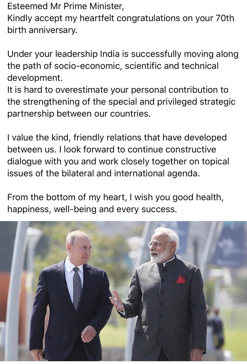 Aditya Raj Kaul On Twitter Russian President Vladimir Putin Congratulates Pm Narendramodi On His 70th Birthday Today