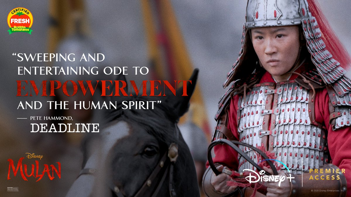Don't miss Disney's #Mulan, now streaming exclusively on #DisneyPlus with Premier Access. For more info: https://t.co/iy94t8jFst https://t.co/TwVgQ9Mw11