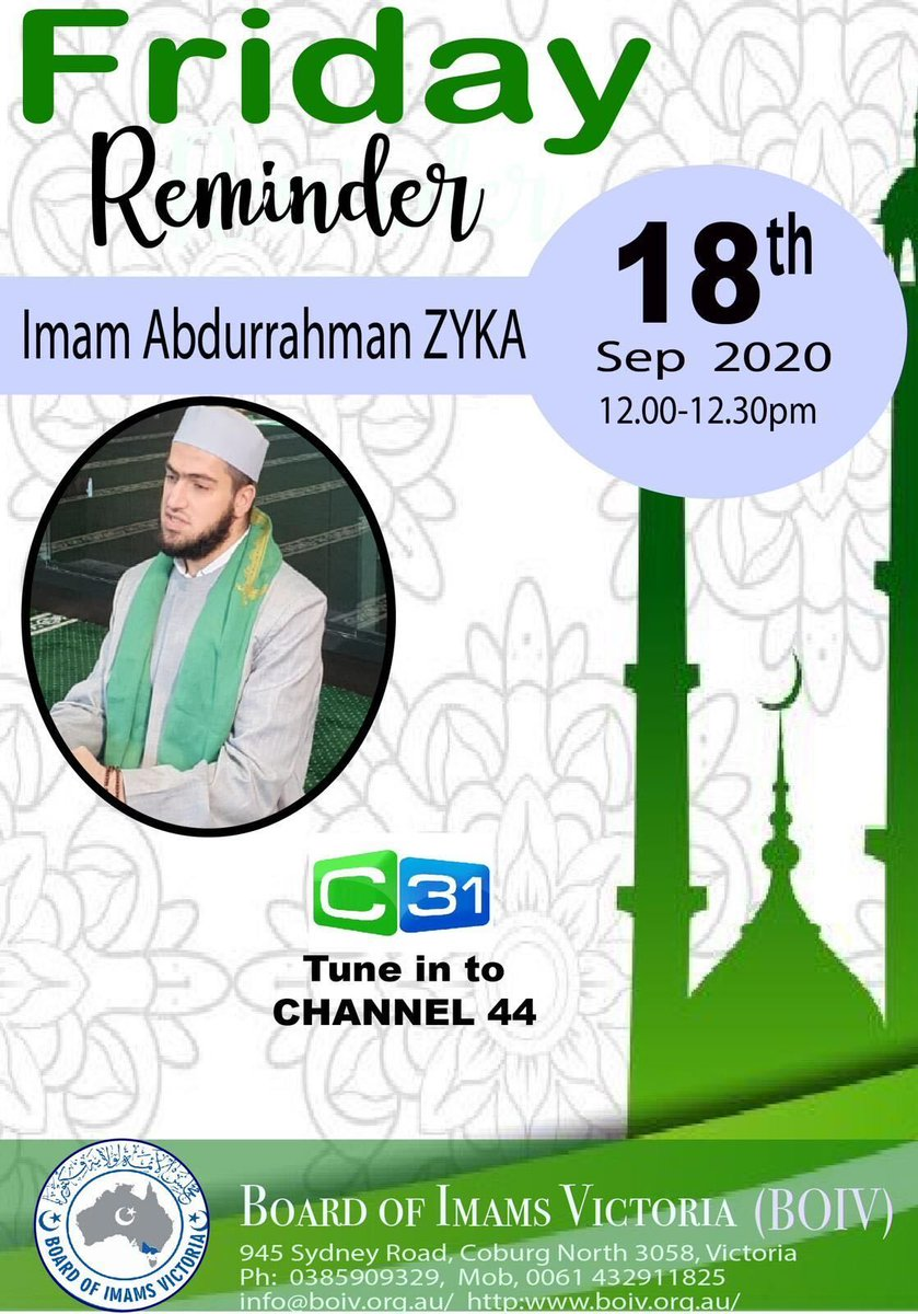 Don't miss this week's sermon, brought to you by Imam Abdurrahman ZYKA. Tune in at 12pm this Friday. https://t.co/myv08Ro33Q