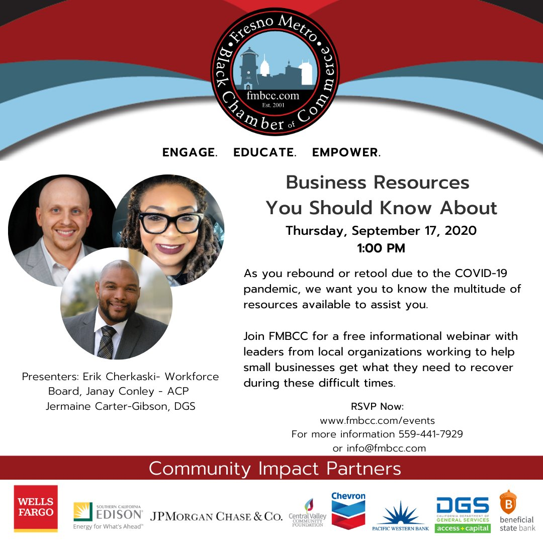 TOMORROW: As you rebound or retool due to the #COVID #Pandemic, we want you to know the multitude of resources available.  Join @FMBCC for a FREE informational #webinar with local leaders working to help #smallbusinesses get what they need to recover. Link https://t.co/cvq15O4OpA https://t.co/SbxnKu5hL8