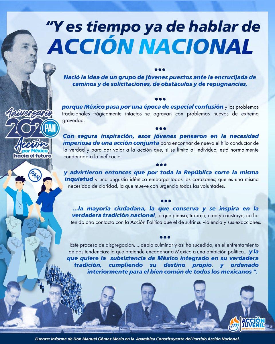 Este año celebramos el #Aniversario2020 de @AccionNacional.  Somos herederos de la visión, convicción, bravura, tenacidad, valentía, generosidad, sensibilidad y sentido de trascendencia de grandes hombres y mujeres  comprometidos con nuestro país. https://t.co/gDaDERCHMn