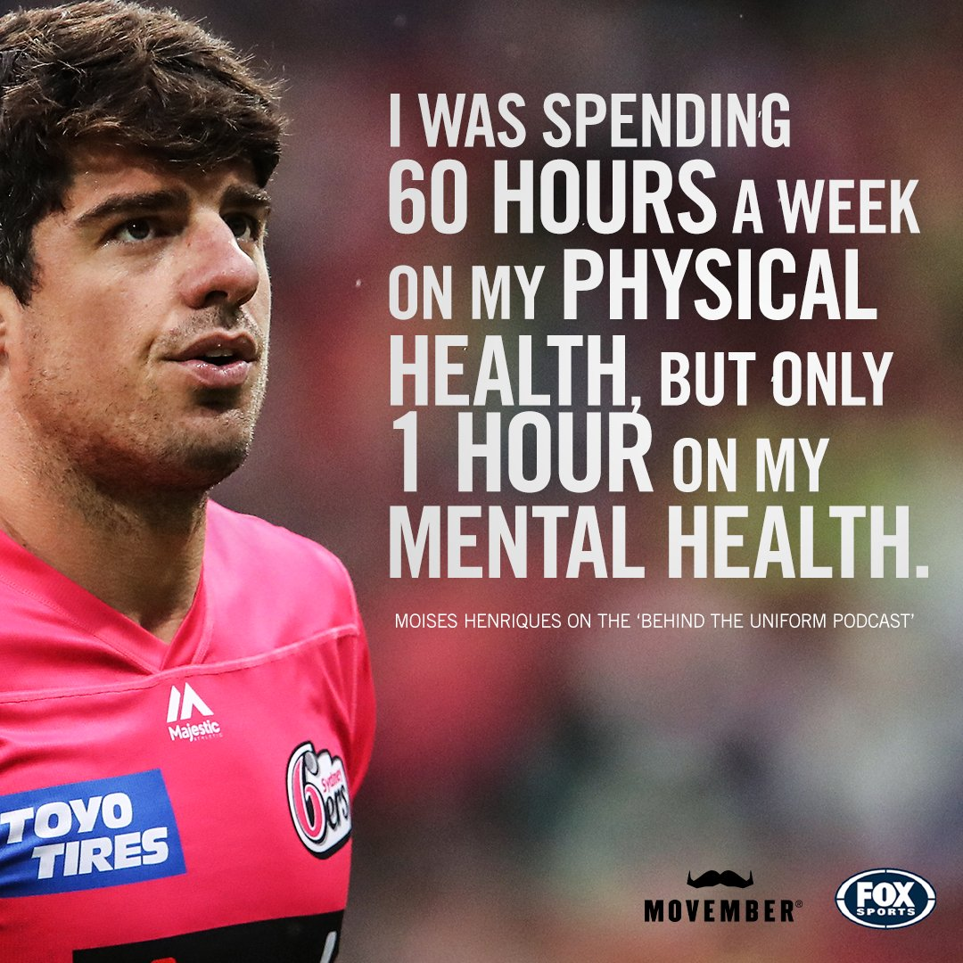 In this week's episode of Behind the uniform podcast, Moises Henriques opens up about his ongoing battles with mental health, what helped him get through his darker days, and why seeking help was the best thing he ever did 🙌 @Mozzie21  🎧 https://t.co/CnxK6uoAVf https://t.co/KUWv1TSdzd