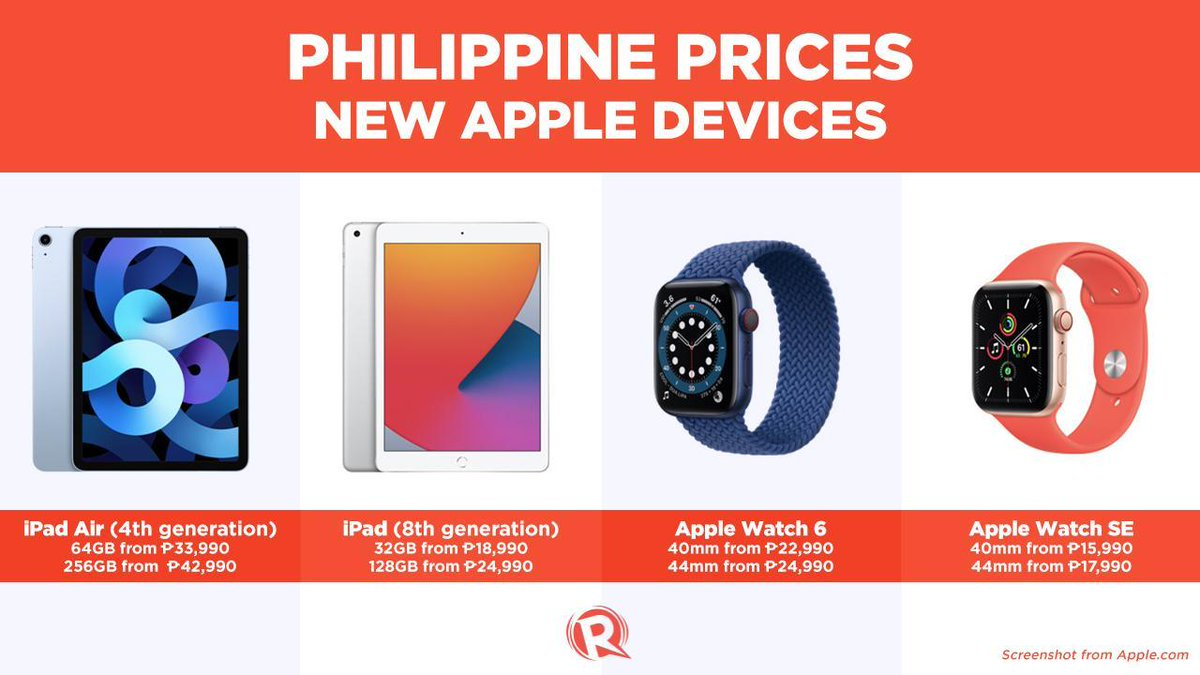 Check out the Philippine prices of these new Apple devices! Planning to buy any of these? 💸  Everything announced at Apple's September 2020 event: https://t.co/6tai2KHR4t https://t.co/mhauR40DwC