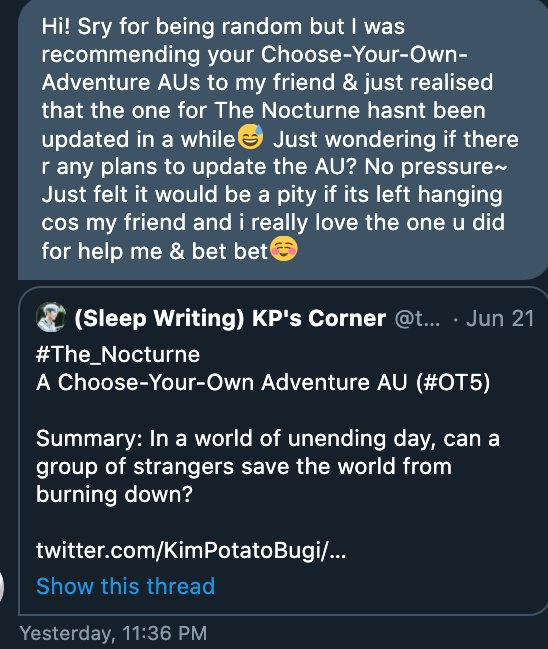 A lovely reader just sent me a message last night and I'm still feeling fuzzy wuzzy bunnies in my tummy till now. These small notes mean so much to fan fiction writers 💙 Thank you, dear reader!  (Also yes I still plan to update #The_Nocturne, hopefully soon! 😊) https://t.co/5E8CpmdHwp