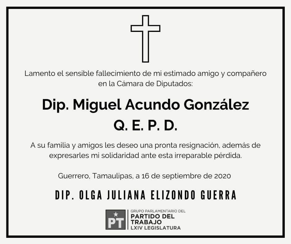 En paz descanse mi amigo y compañero en la Cámara de Diputados, Dip. @MiguelAcundo. 🙏 https://t.co/9bwBUg9bG7