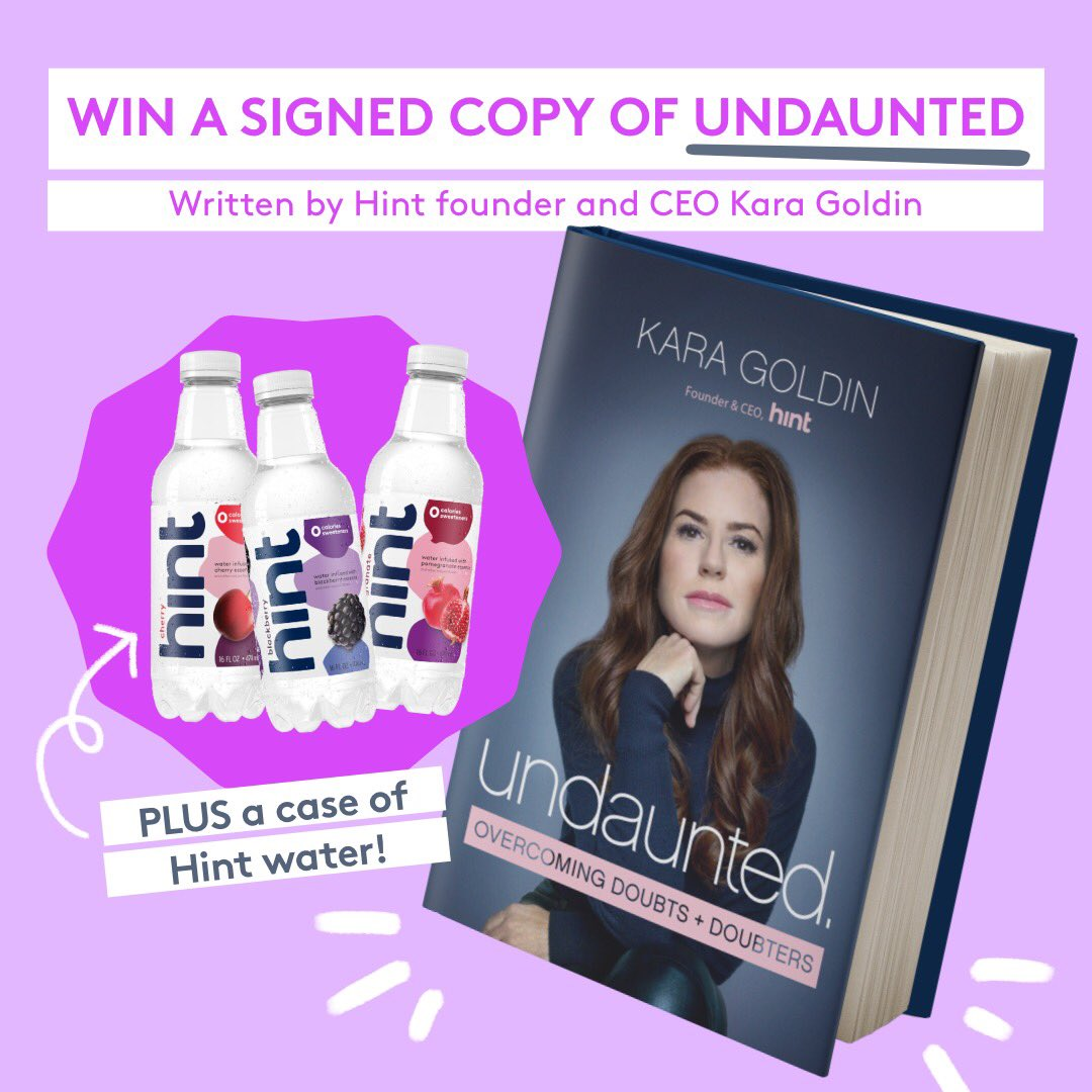 To celebrate the release of Undaunted 📖, a book about helping you overcome the doubts and the doubters from Hint Founder & CEO @karagoldin, we're giving away 1 signed copy of Undaunted + a free case of Hint Water! 💧 RT this for a chance to win.
