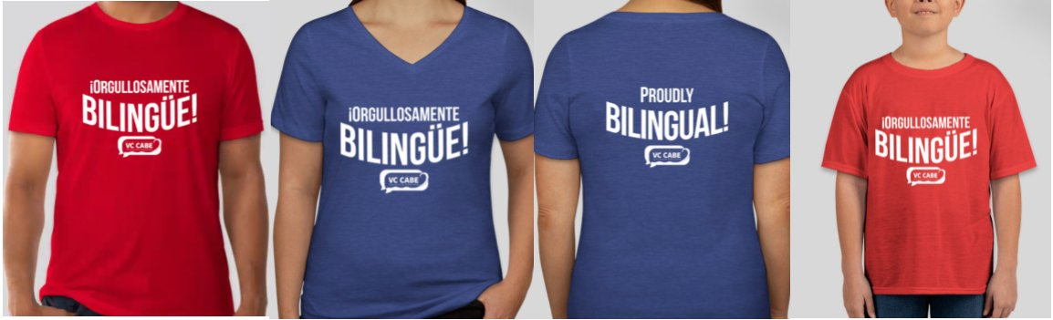 #ProudlyBilingual #OrgullosamenteBilingue   I'm excited to be helping Ventura County CABE chapter with their event & t-shirt fundraiser!  Get your shirt today & donate towards their scholarship fund:   Conference: https://t.co/iYeCL3Gf5z  Shirt: https://t.co/9OA0Pv5ysM https://t.co/LCwjgNccnw
