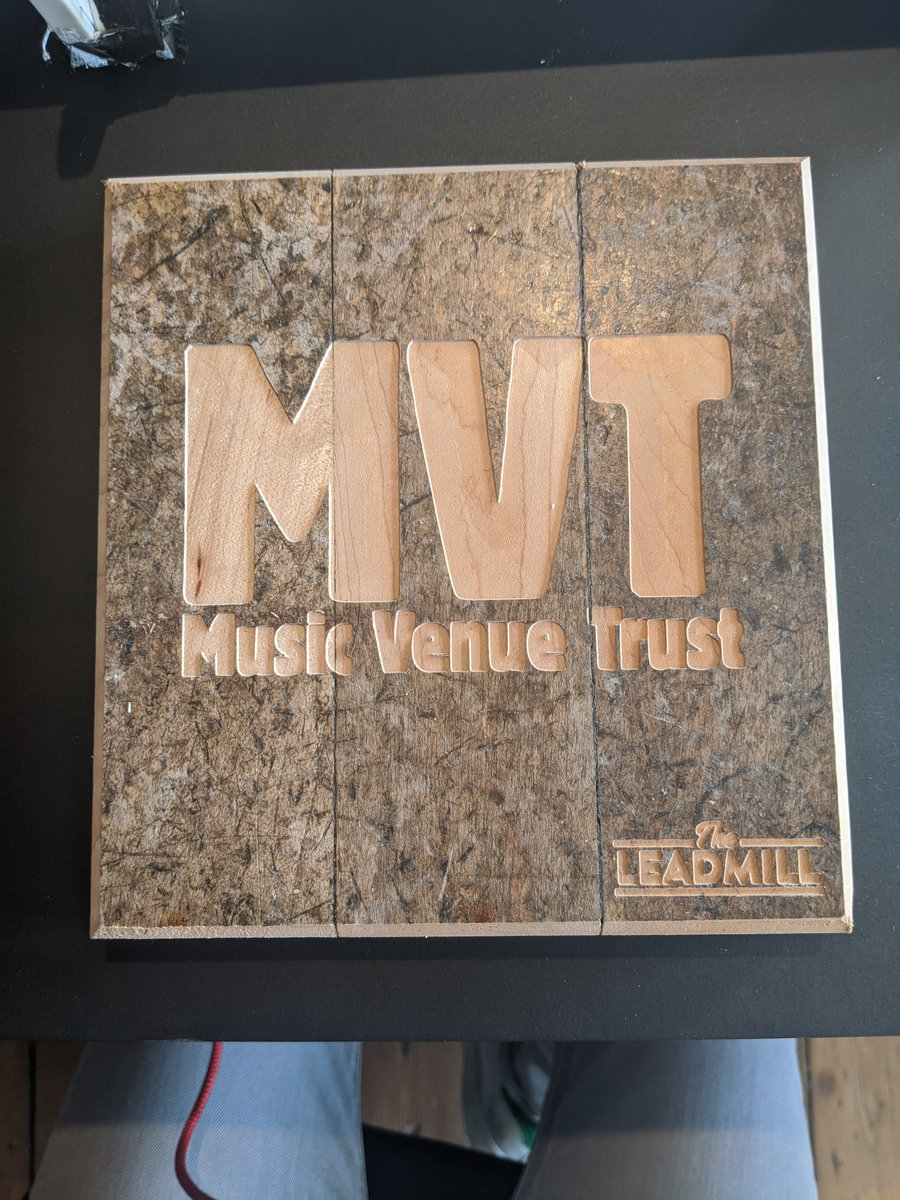 Thanks so much to the team at @Leadmill for making us this special MVT sign made out of the old floorboards of the venue! We now have a bit of Grassroots Music Venue history to display in our office. https://t.co/uCyo0uLnFZ